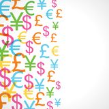 Seamless pattern of currency signs Royalty Free Stock Photo