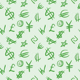 Seamless pattern with currency symbols. Stock Photo