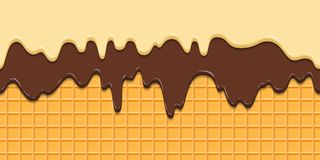 Seamless pattern. Current icing and chocolate on waffle texture background, waffle cone with ice cream. Cartoon. Illustration for web, site, advertising, banner stock illustration