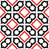 Red and black abstract background. Seamless pattern with curved shapes and lining white background royalty free illustration