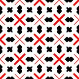 Red and black abstract background. Seamless pattern with curved shapes and lining white background stock illustration
