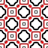 Red and black abstract background. Seamless pattern with curved shapes and lining white background vector illustration