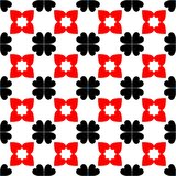 Red and black abstract background. Seamless pattern with curved shapes and white background with heart shaped royalty free illustration