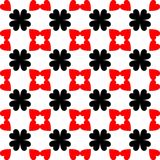 Red and black abstract background. Seamless pattern with curved shapes and white background with heart shaped stock illustration