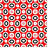 Red and black abstract background. Seamless pattern with curved shapes and white background stock illustration