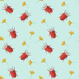 Seamless pattern with cut vector bugs and flowers. For textile of paper Royalty Free Stock Images
