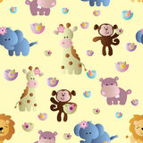 Seamless pattern with cute african animals. Drawing of a seamless pattern with cute african animals - hippopotamus, monkey, elephant, lion and giraffe in cartoon Royalty Free Stock Photo