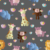 Seamless pattern with cute african animals. Drawing of a seamless pattern with cute african animals - hippopotamus, monkey, elephant, lion and giraffe in cartoon Royalty Free Stock Images