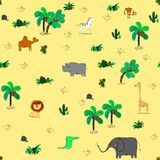 Seamless pattern with cute african animals and tropical plants. stock illustration