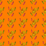 Seamless pattern with cute aliens Royalty Free Stock Image