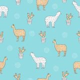 Seamless pattern with cute alpaca - south america`s lama and cactus. Royalty Free Stock Photography