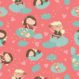 Seamless pattern with cute angels celebrating Valentines Day Royalty Free Stock Photo