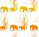 Seamless pattern with cute animal, Elephants. The elephant`s baby with mother. A walk in the savannah. Vector flat background. Can be used for textile, website Stock Photography