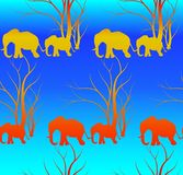 Seamless pattern with cute animal, Elephants. The elephant`s baby with mother. A walk in the savannah. Vector flat background. Can be used for textile, website Stock Photo
