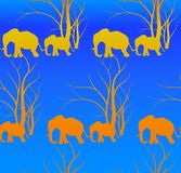 Seamless pattern with cute animal, Elephants. The elephant`s baby with mother. A walk in the savannah. Vector flat background. Can be used for textile, website Royalty Free Stock Photography