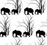Seamless pattern with cute animal, Elephants. The elephant`s baby with mother. A walk in the savannah. Vector flat background. Can be used for textile, website Stock Image