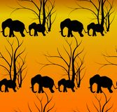 Seamless pattern with cute animal, Elephants. The elephant`s baby with mother. A walk in the savannah. Vector flat background. Can be used for textile, website Royalty Free Stock Image