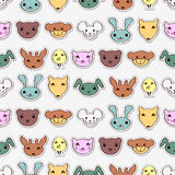 Seamless pattern with cute animal faces Stock Images