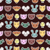 Seamless pattern with cute animal faces Royalty Free Stock Photo