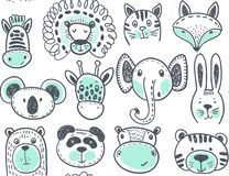 Seamless pattern with cute animal heads, endless background stock illustration