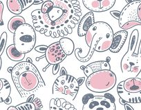 Seamless pattern with cute animal heads endless background royalty free stock images