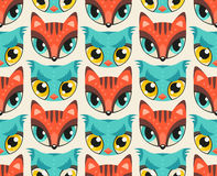 Seamless pattern with cute animal muzzles in flat style. Red fox and blue owl - colorful animal snouts with extremely big eyes royalty free illustration