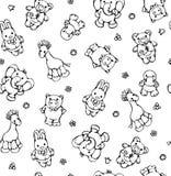 Seamless pattern of cute animals. Stock Photo