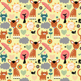 Seamless pattern, cute animals Royalty Free Stock Photos