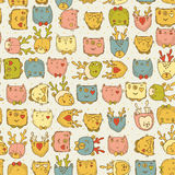 Seamless pattern with cute animals for baby fabric, kids textile, hipster background in doodle style. Stock Photography