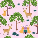 Seamless pattern with cute animals on bright and colorful background for decorative,fashion,fabric,textile,print or wallpaper. Vector illustration vector illustration