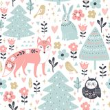 Seamless pattern with cute animals in cartoon style: fox, rabbit, owl. Royalty Free Stock Image