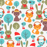 Seamless pattern with cute animals Stock Photos