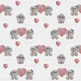 Seamless pattern. Cute animals. Gray rabbits in love. Funny girl hare with a flower and a boy with a gift in his paws on a white