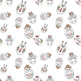 Seamless pattern with cute animals in a shape of Easter Eggs in royalty free illustration