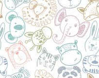 Seamless pattern with cute animal heads, endless background royalty free stock images