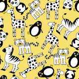 Seamless pattern with cute animals Royalty Free Stock Photography
