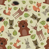 Seamless pattern with cute animals Stock Photo