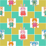 Seamless pattern with cute baby animals. Royalty Free Stock Photos