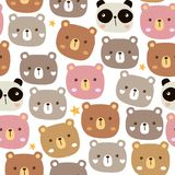 Seamless pattern with cute baby bear and panda. Seamless vector pattern with cute baby bear and panda stock illustration