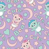 Seamless pattern with cute baby bears, moon and stars Stock Photos