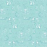Seamless pattern - Cute baby blue items Stock Photo