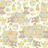 Seamless pattern - Cute baby boy items Stock Photos