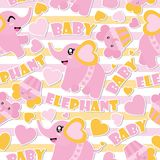 Seamless pattern of cute baby elephant and cupcakes on striped background  cartoon illustration for Baby shower wrapping pap. Er, kid fabric clothes, and Stock Photo