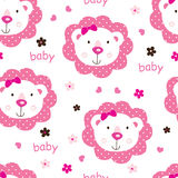 Seamless pattern with cute baby girl lions Royalty Free Stock Photography