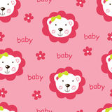 Seamless pattern with cute baby girl lions Royalty Free Stock Photos