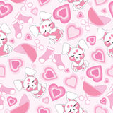 Seamless pattern with cute baby rabbit and baby cart. Seamless pattern with cute baby rabbit and baby cart on pink background suitable for baby wallpaper and Stock Photos