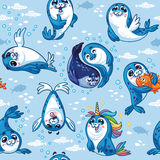 Seamless pattern with cute baby seal cartoon characters. Stock Images