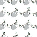 Seamless pattern with cute baby sloths hanging on the tree. adorable animal background in the childish style. Vector rainforest royalty free illustration