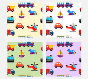 Seamless pattern with cute baby transport toys Royalty Free Stock Photos
