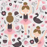 Seamless pattern with cute ballerina girl. Vector illustration, eps Royalty Free Stock Image